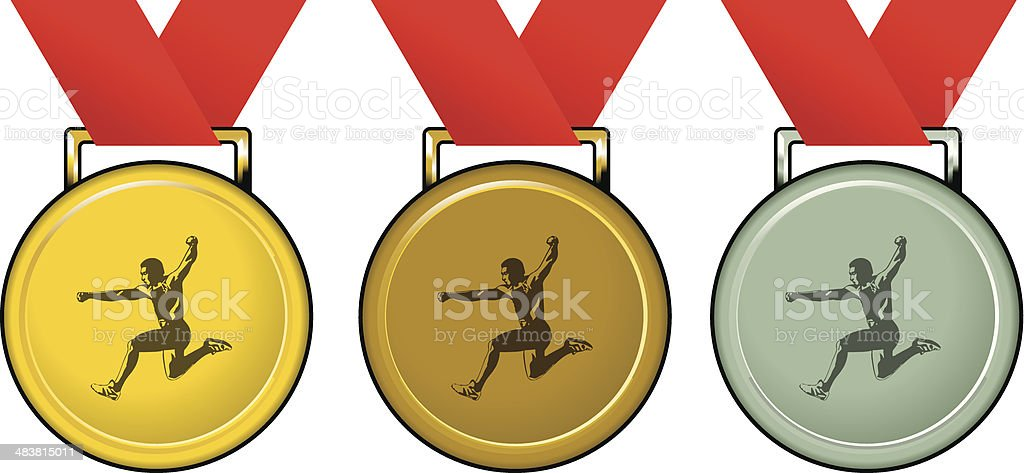 medals with athlete royalty-free stock vector art