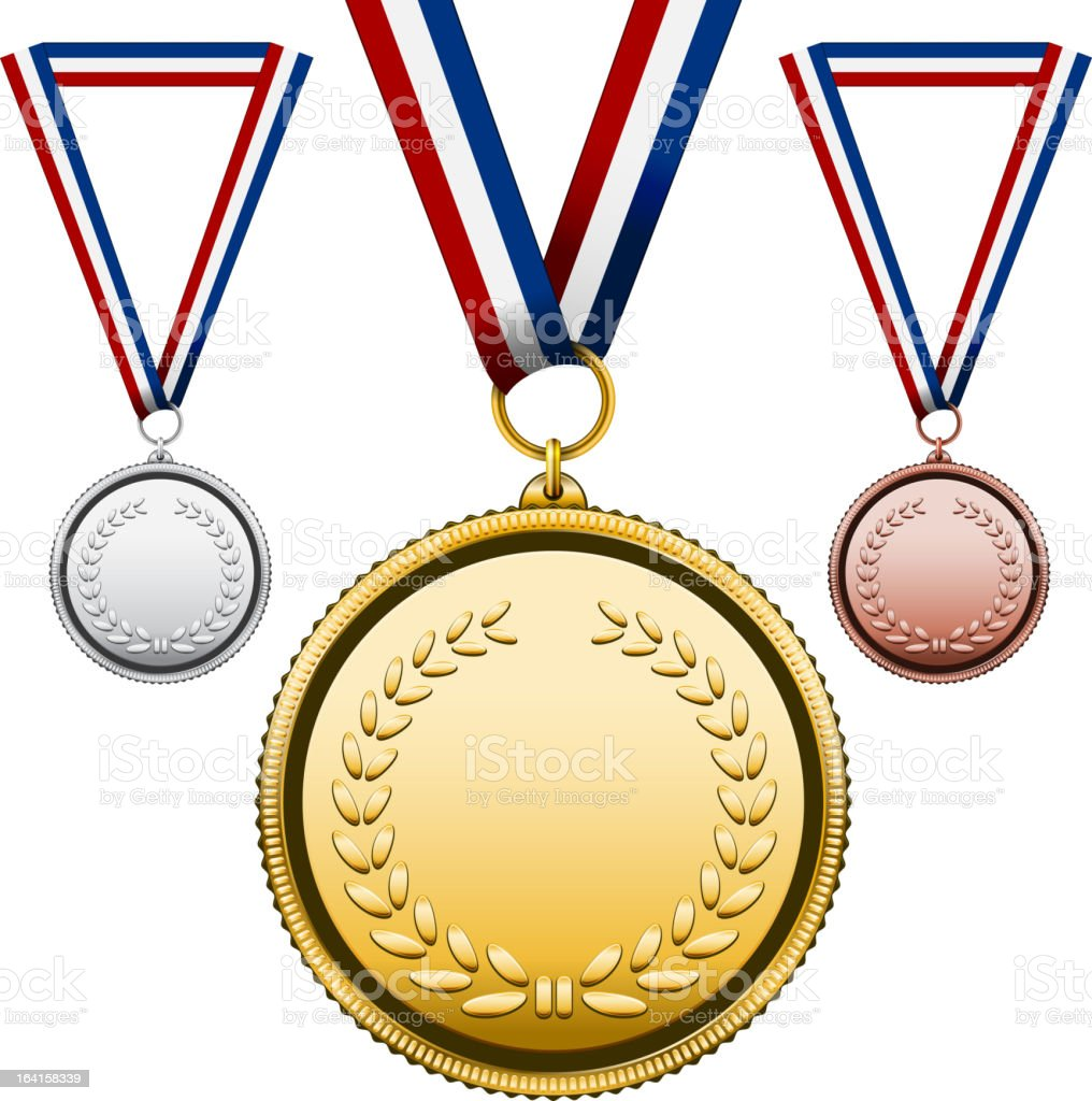 Medals with blank face vector art illustration