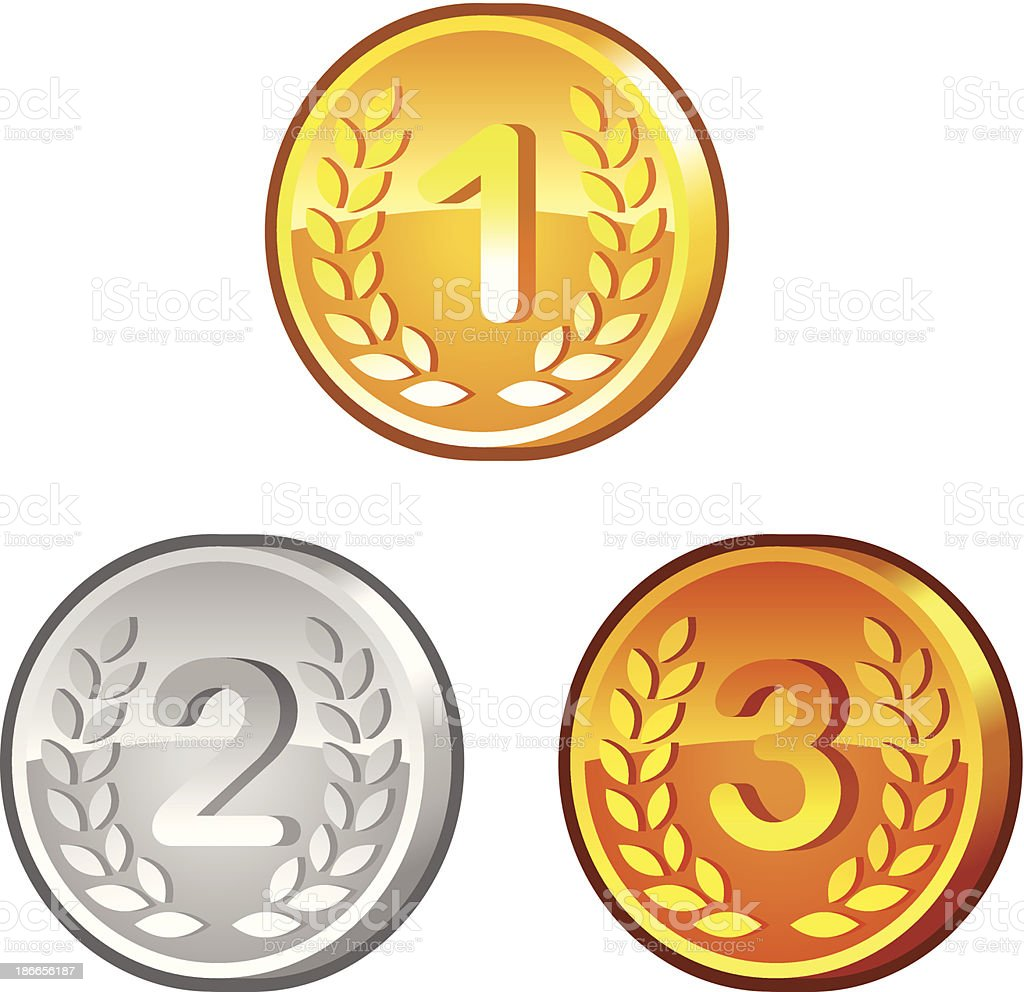 Medals with numerals royalty-free stock vector art