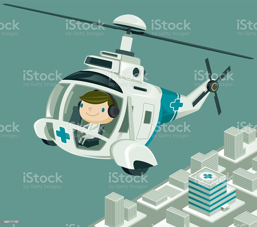 Medevac  Helicopter flying over the City vector art illustration