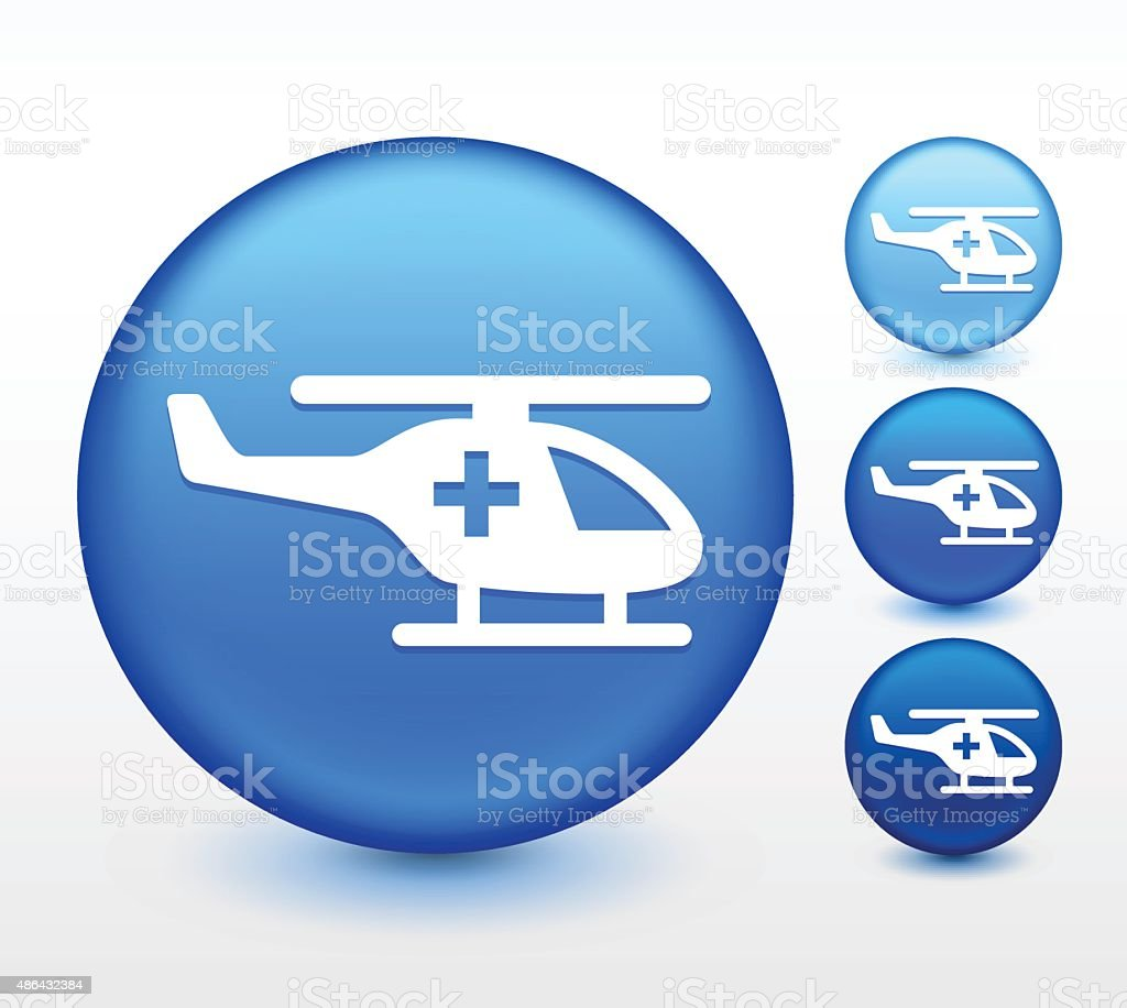 Medevac Helicopter on Blue Round Button vector art illustration