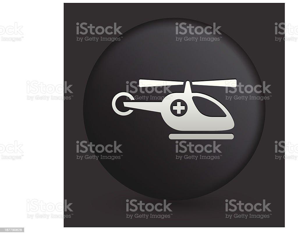 Medevac Icon on Round Black Button vector art illustration