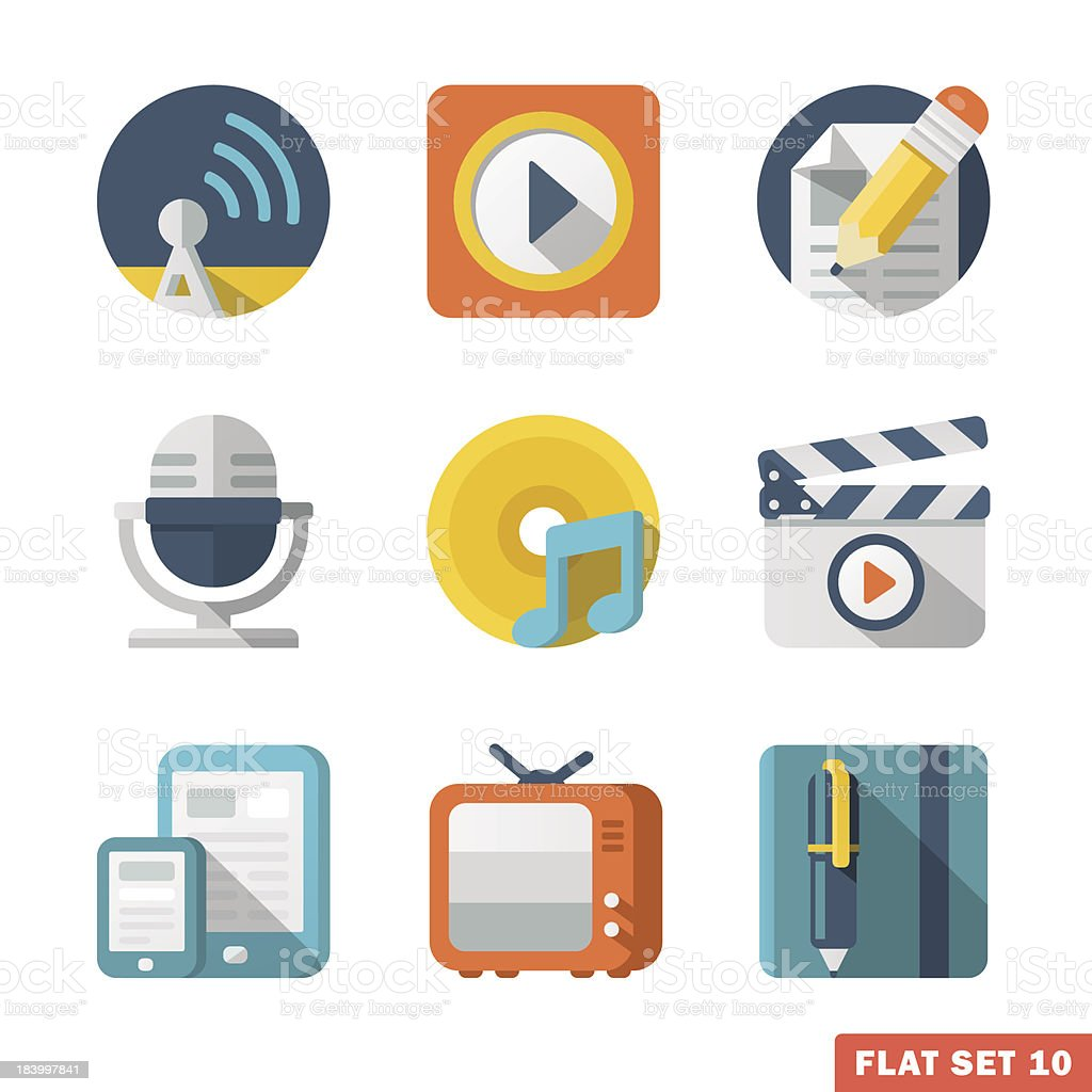 Media and Communication Flat icons royalty-free stock vector art