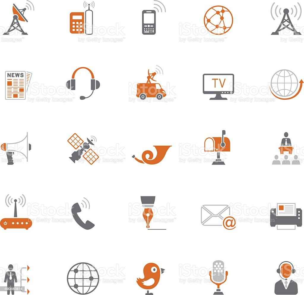 Media and Communication Icon Set vector art illustration
