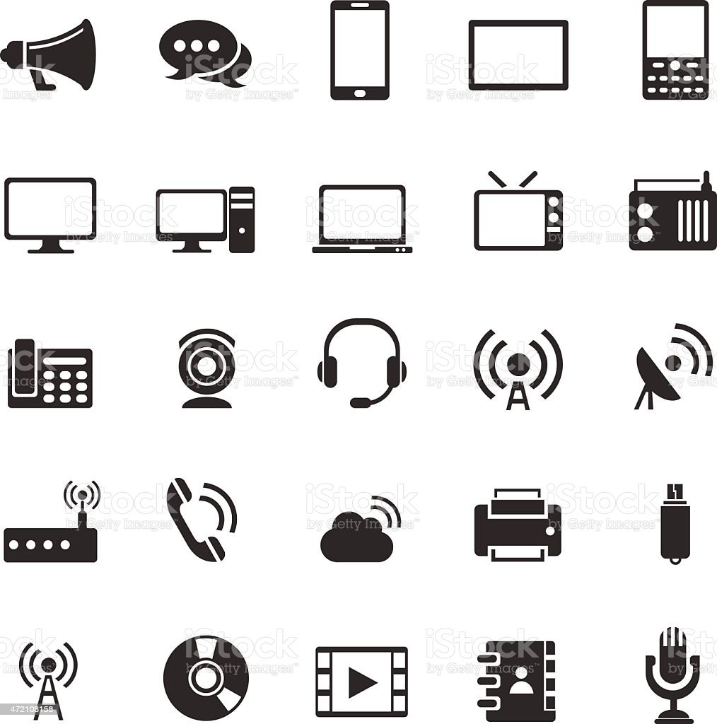 Media and communication icons vector art illustration