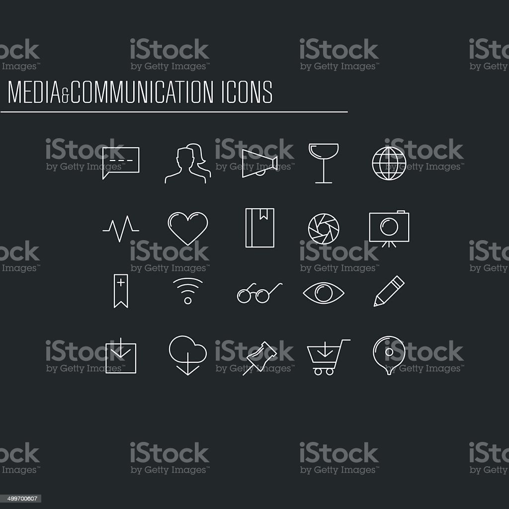 Media and communication minimalistic icons vector art illustration