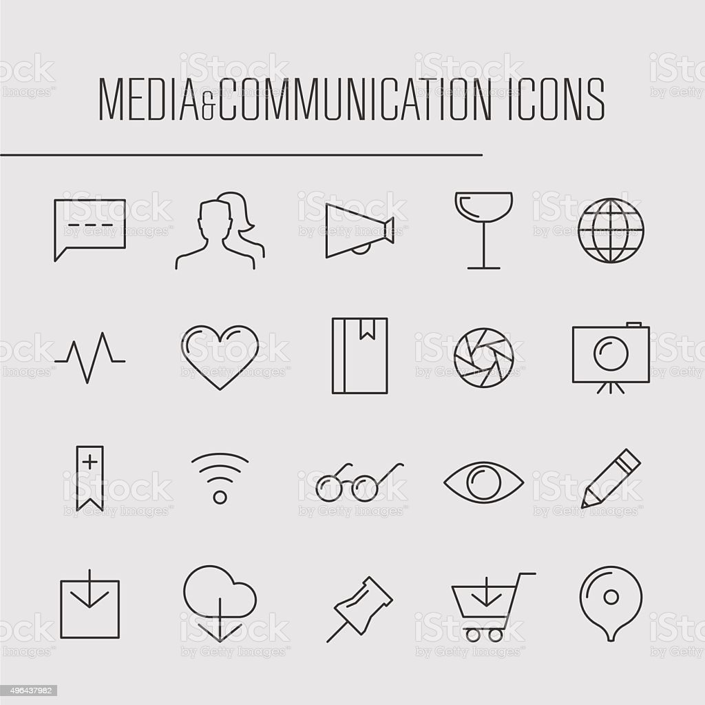 Media and communication thin line icons vector art illustration