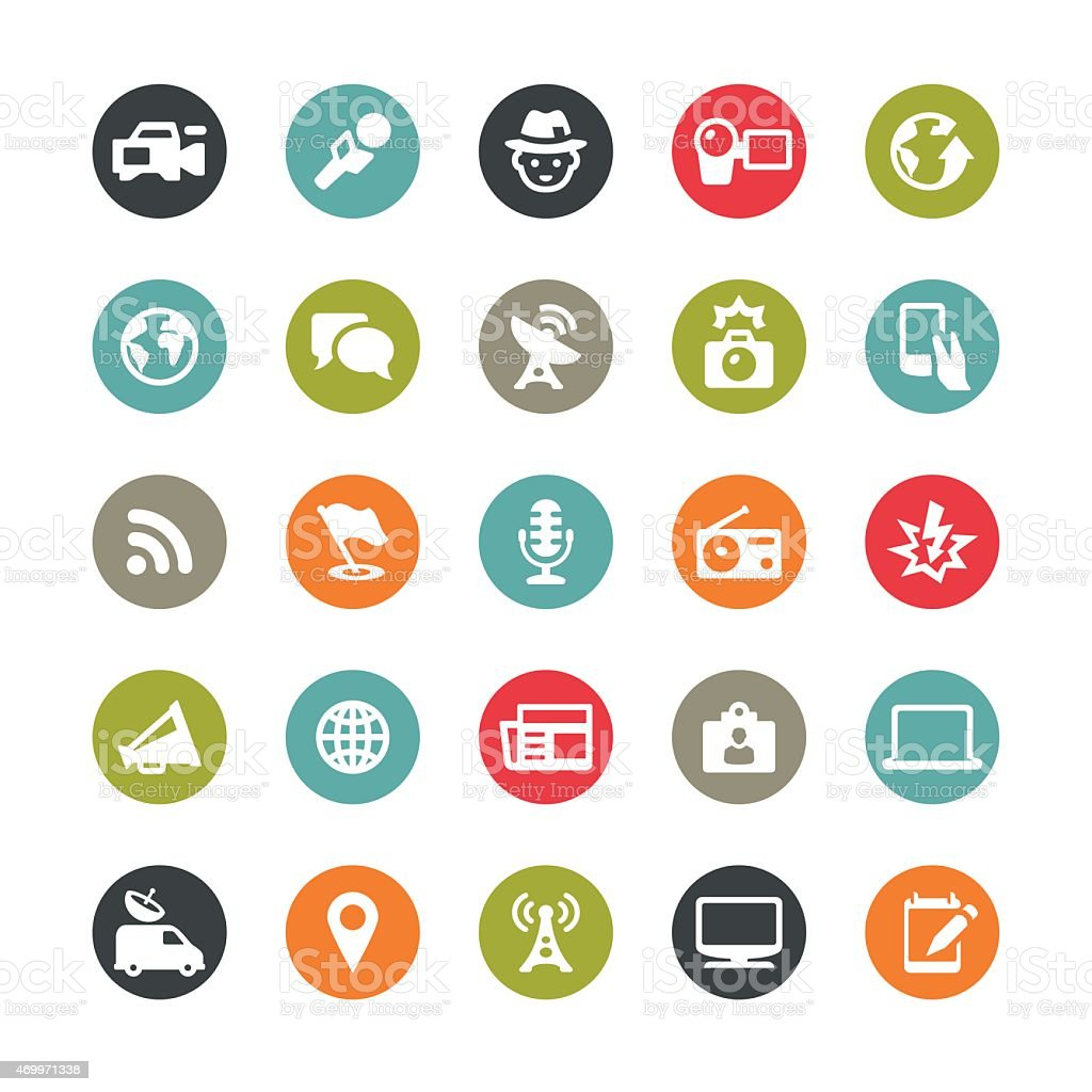 Media and journalism related vector icons / Ringico series vector art illustration