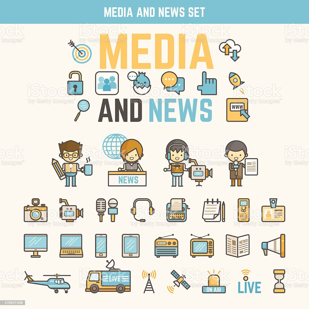 media and news infographic elements for kid vector art illustration