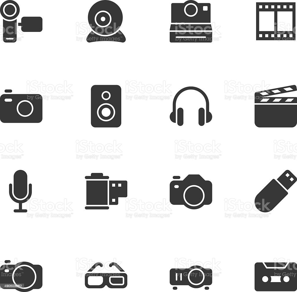 Media and Technology icons - Regular vector art illustration