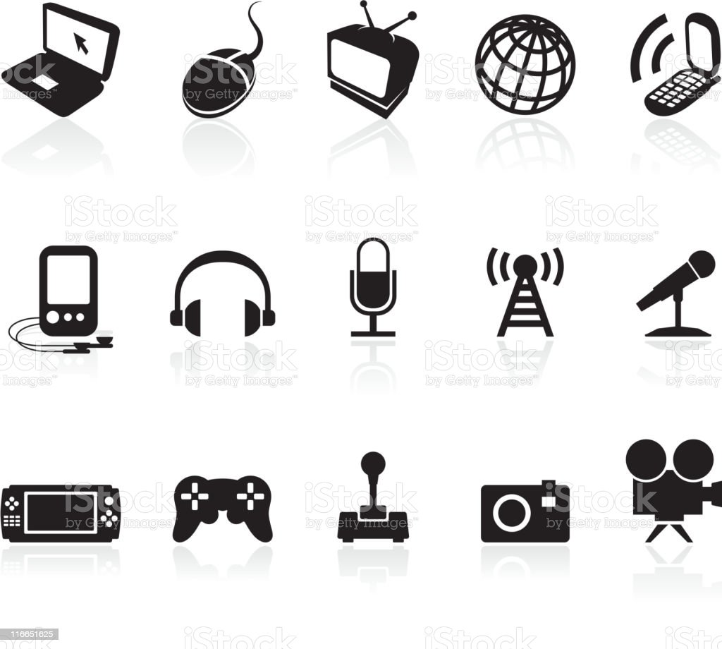 Media and technology royalty free vector icon set vector art illustration