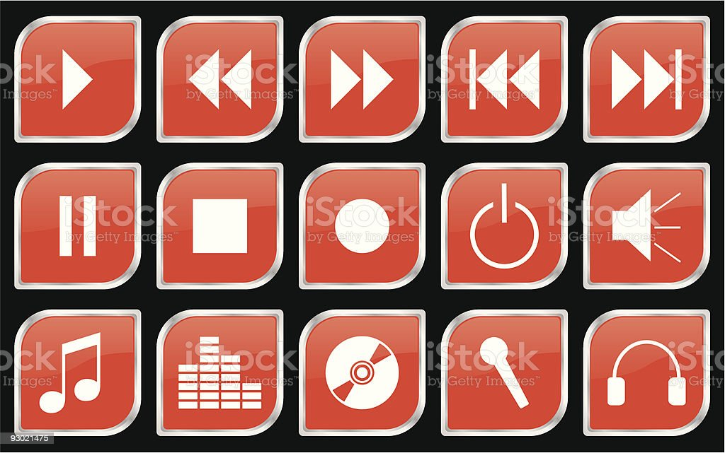 Media buttons set orange royalty-free stock vector art