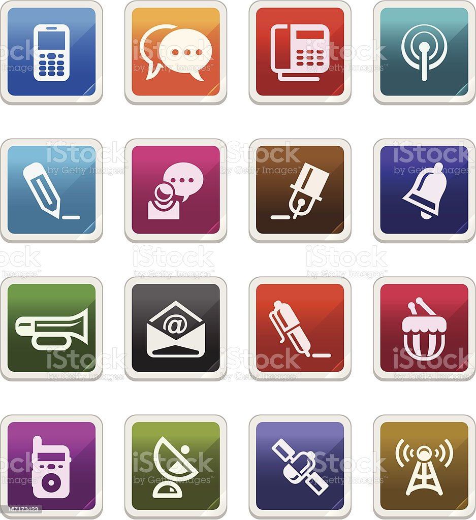Media & Communication Icons 2 -  sticker series royalty-free stock vector art