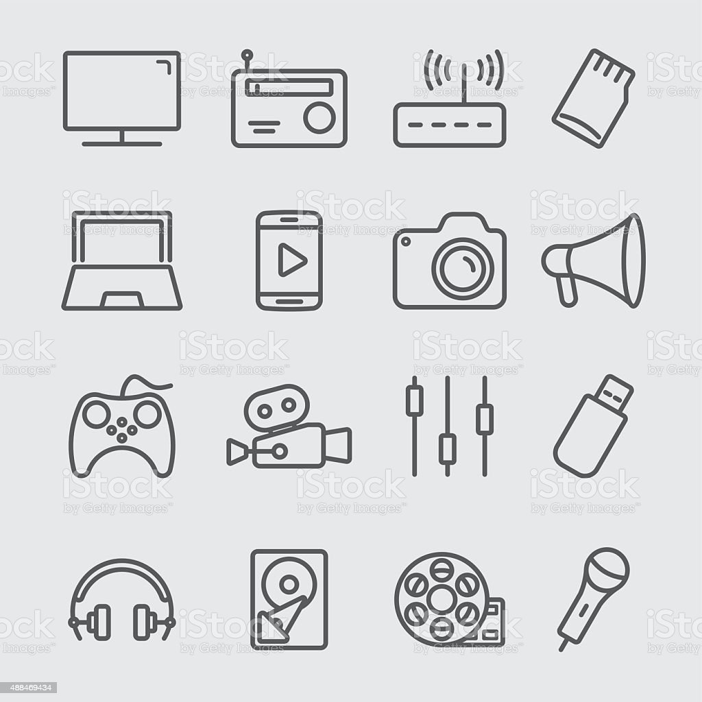 Media devices line icon vector art illustration