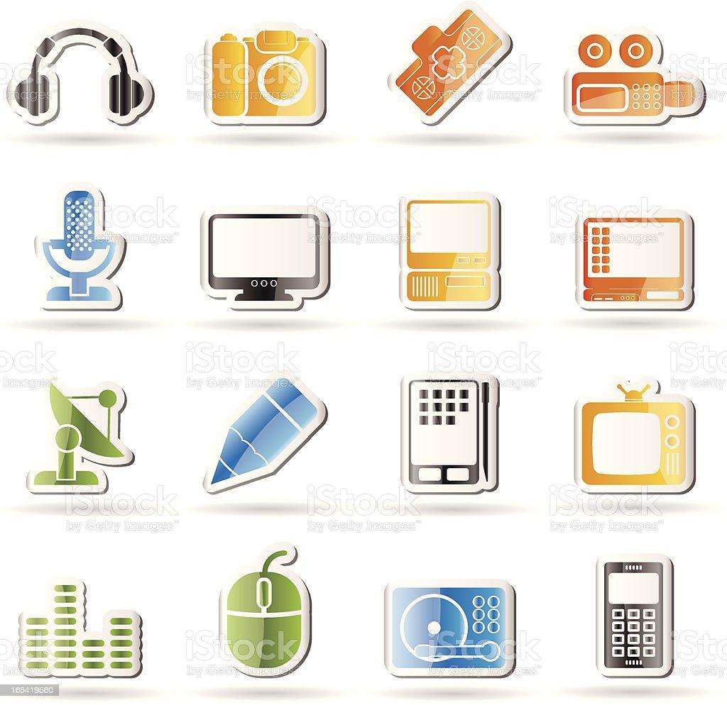 Media equipment icons royalty-free stock vector art