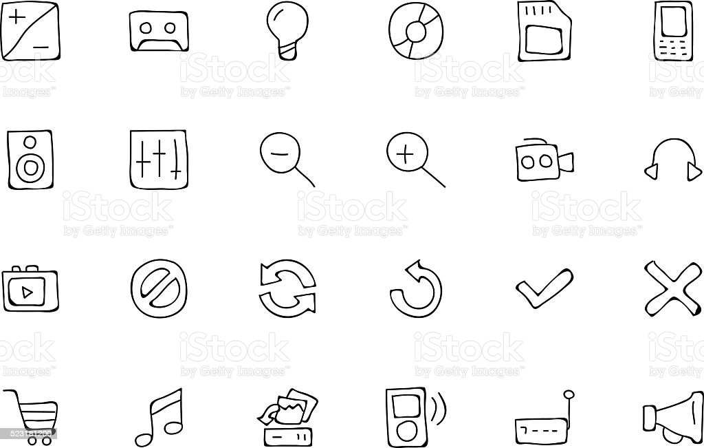Media Hand Drawn Doodle Icons 3 vector art illustration