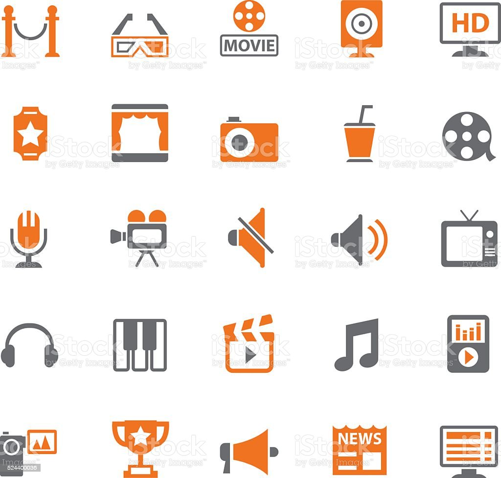 Media icon set vector art illustration