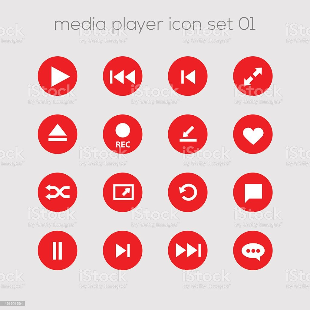 Media icons collection set 1 vector art illustration