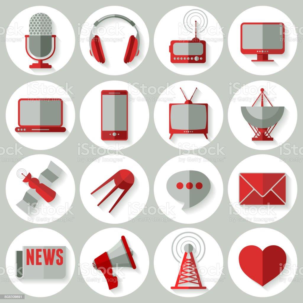 Media icons set vector art illustration