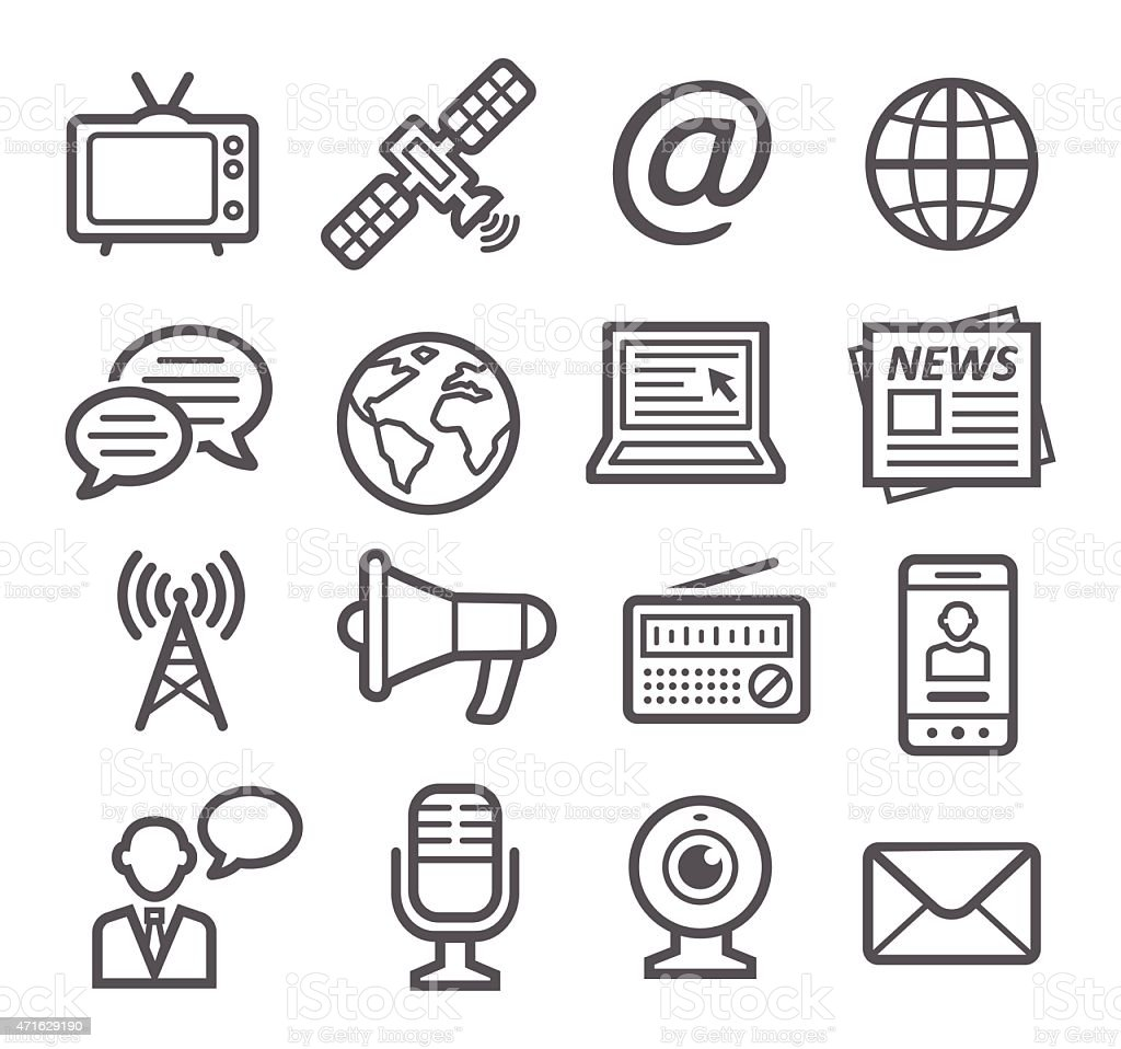 Media Icons vector art illustration