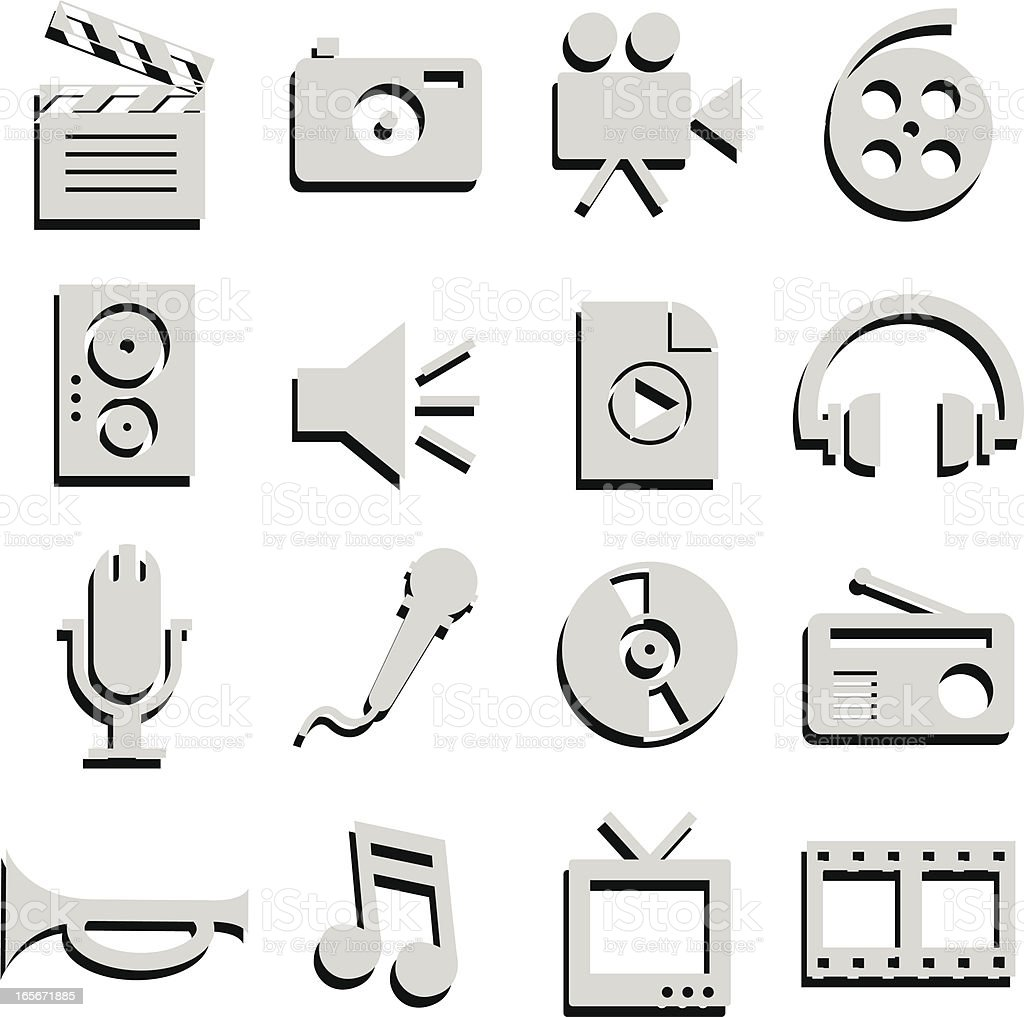 media icons with shadow royalty-free stock vector art