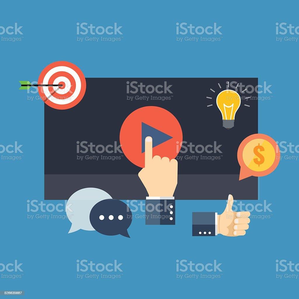 Media marketing concept. Flat design stylish. vector art illustration