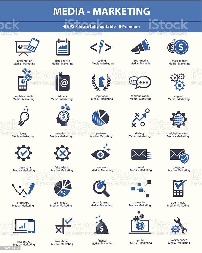 Media & Marketing concept icons,Blue version,vector vector art illustration