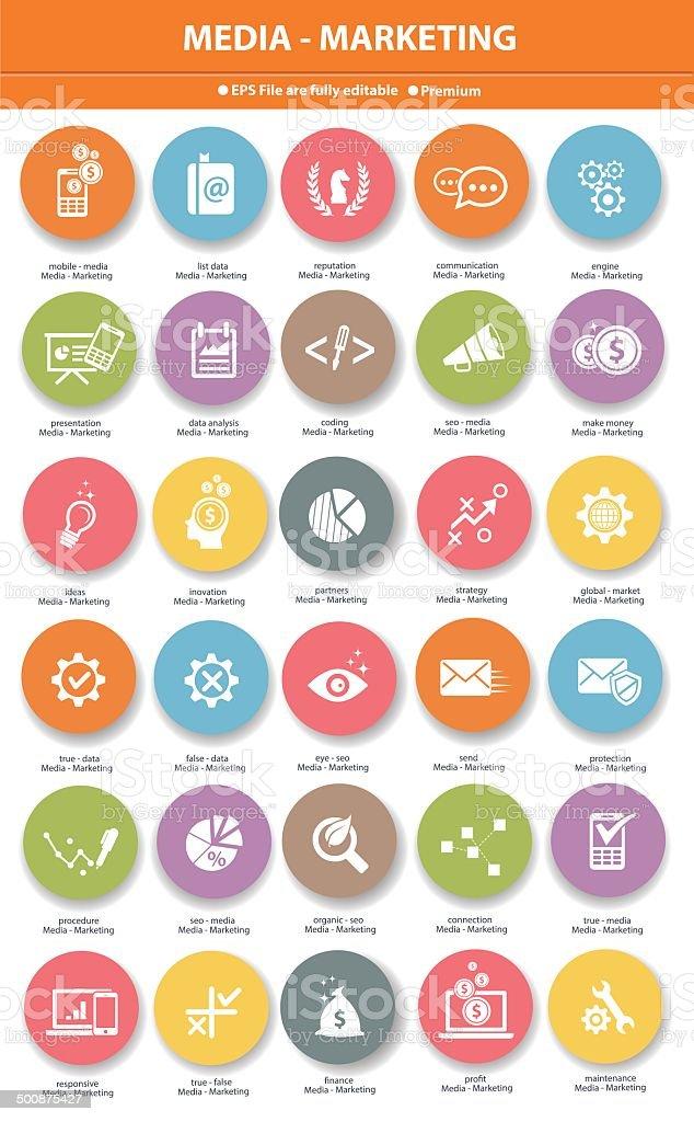 Media & Marketing icons,Colorful version vector art illustration