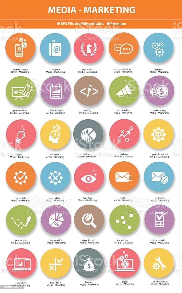 Media & Marketing icons,Colorful version vector art illustration