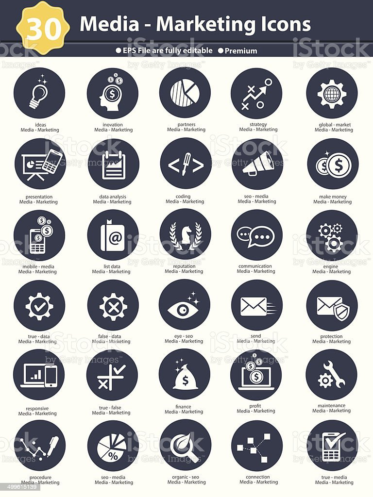 Media & Marketing icons,dark version on white background,vector vector art illustration