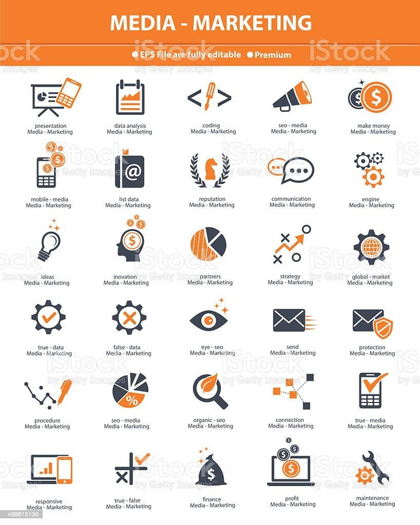 Media & Marketing icons,orange version on white background,vector vector art illustration