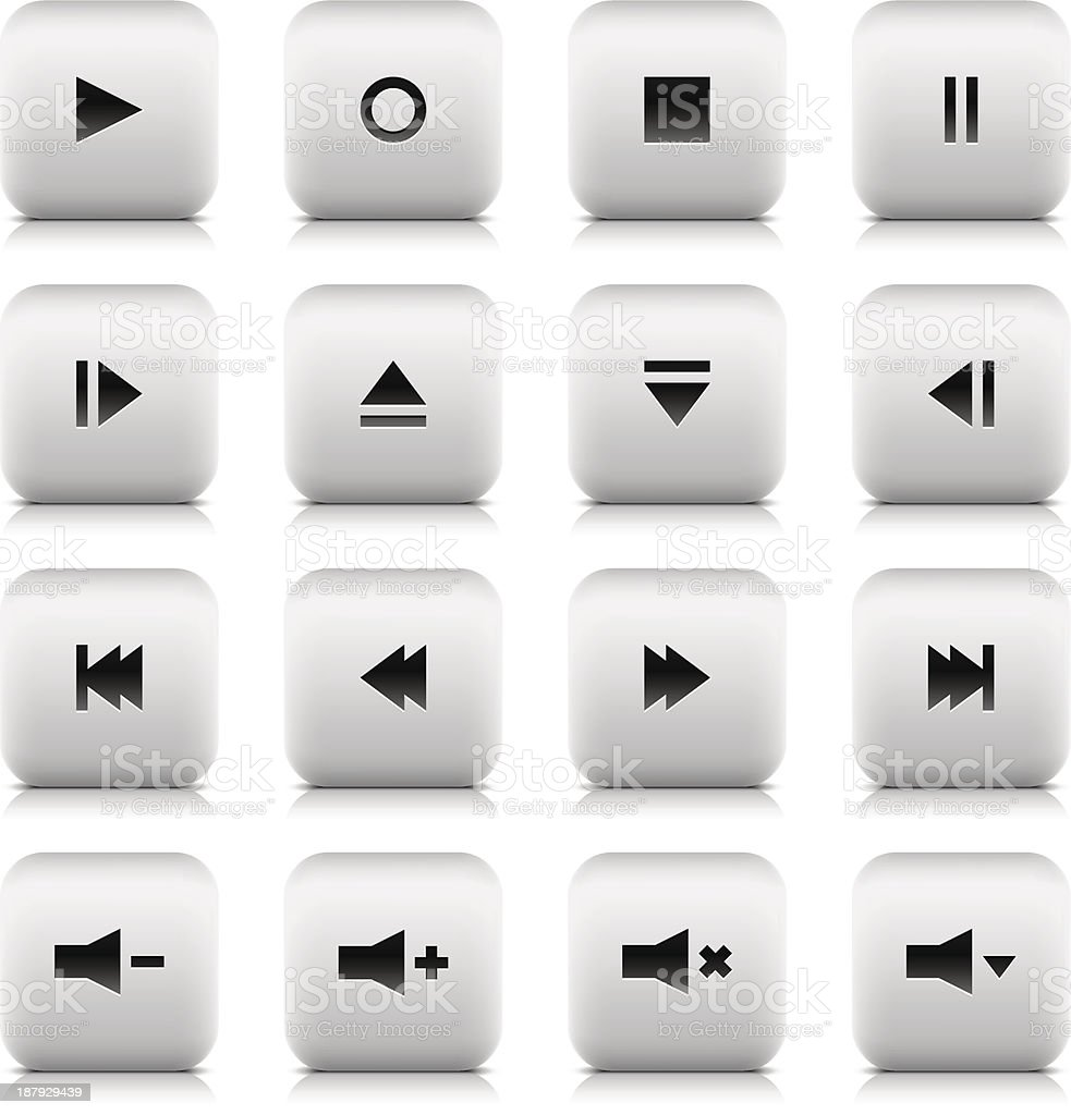 Media player audio video button rounded square icon white background royalty-free stock vector art