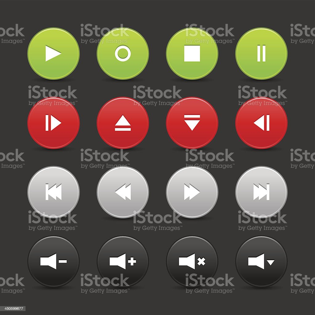 Media player audio video gray black green red circle icon royalty-free stock vector art