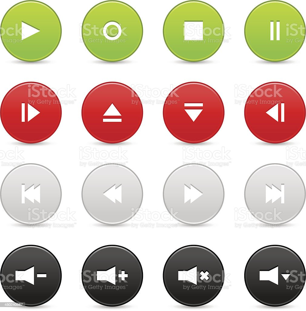 Media player audio video green red gray black circle icon vector art illustration