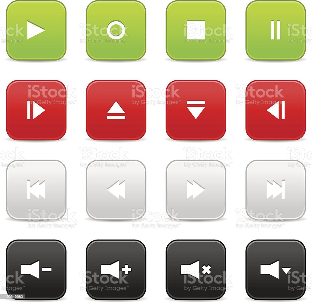 Media player audio video green red gray black square icon royalty-free stock vector art