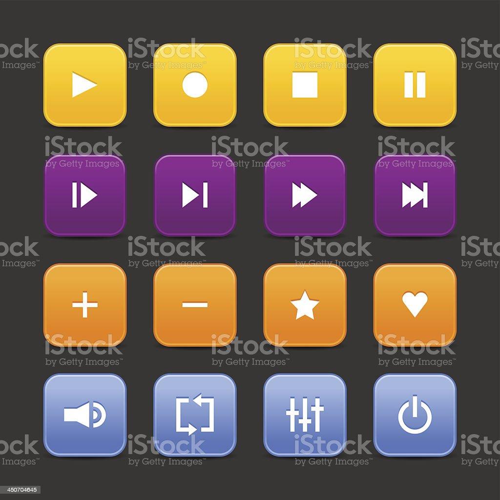 Media player audio video yellow purple orange blue square icon royalty-free stock vector art