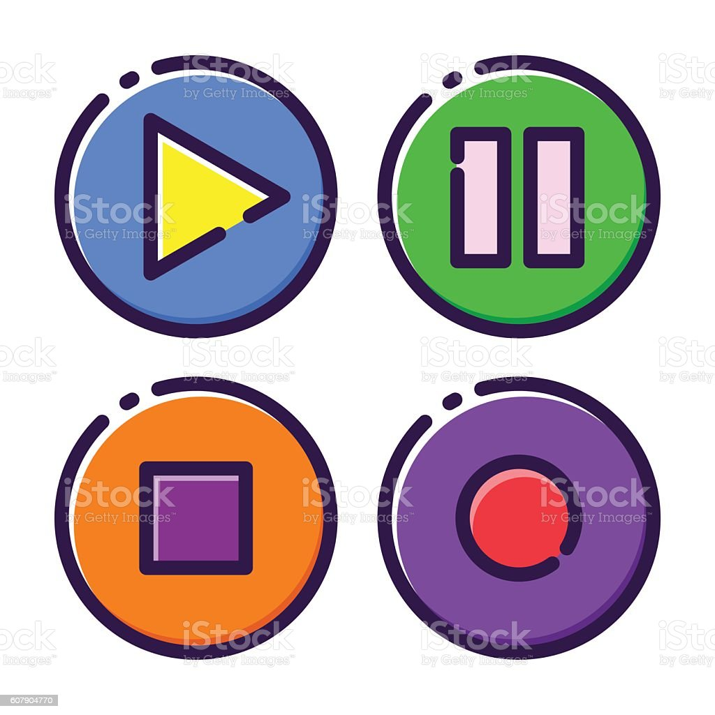 Media Player Button Flat Icon vector art illustration