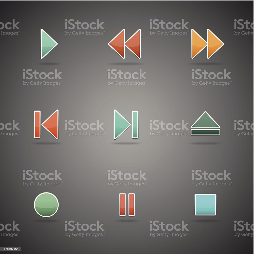 Media player buttons collection royalty-free stock vector art
