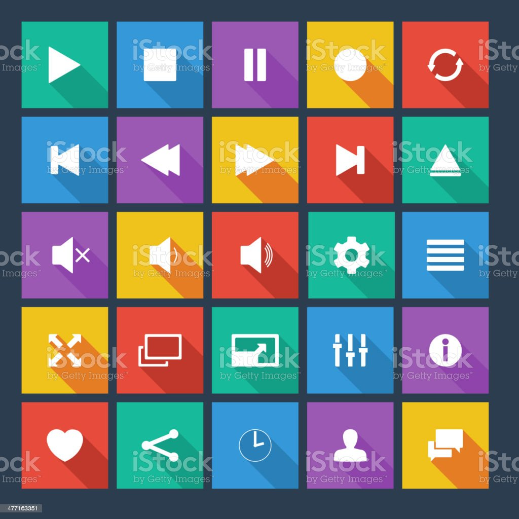 Media player flat vector icons with long shadow. royalty-free stock vector art
