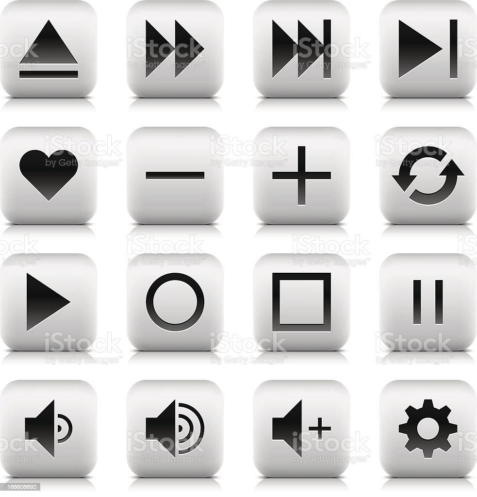 Media player icon rounded square button reflection shadow white background royalty-free stock vector art