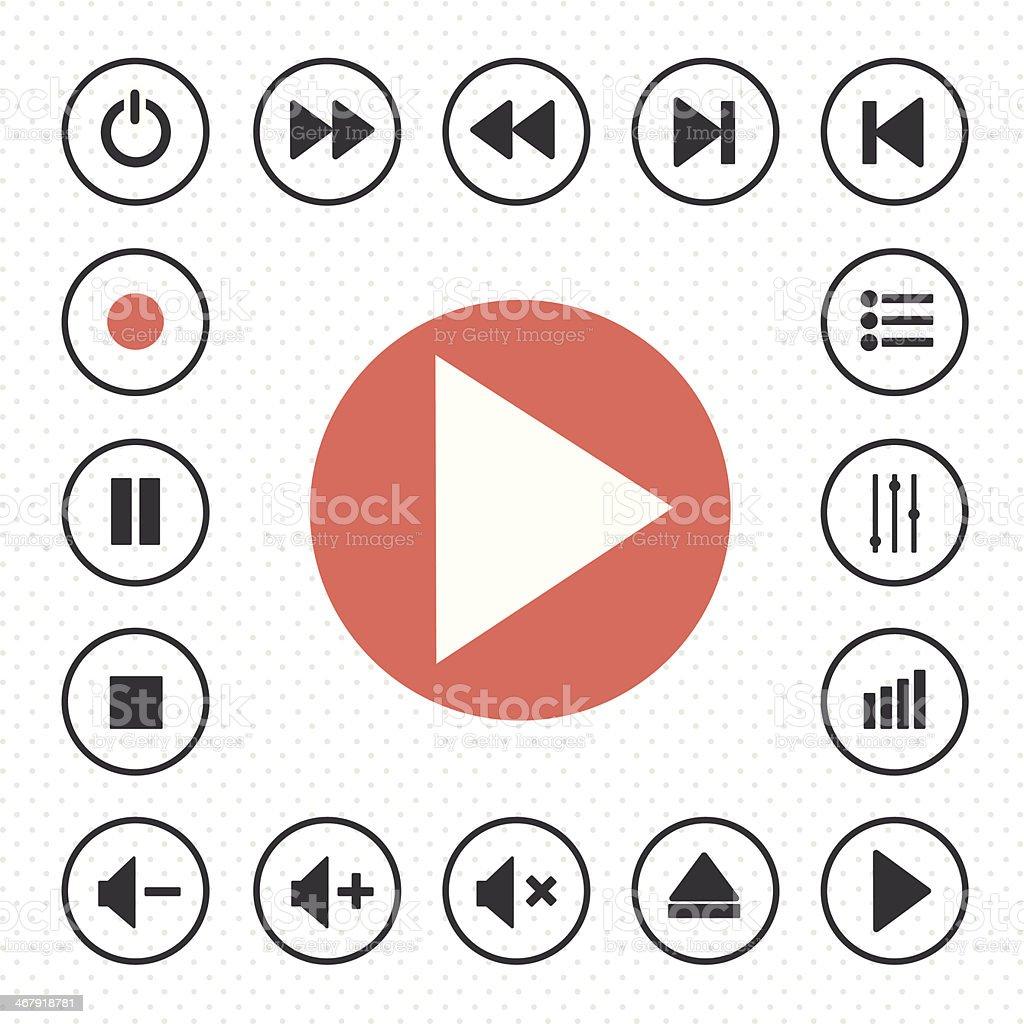 media player icon vector art illustration