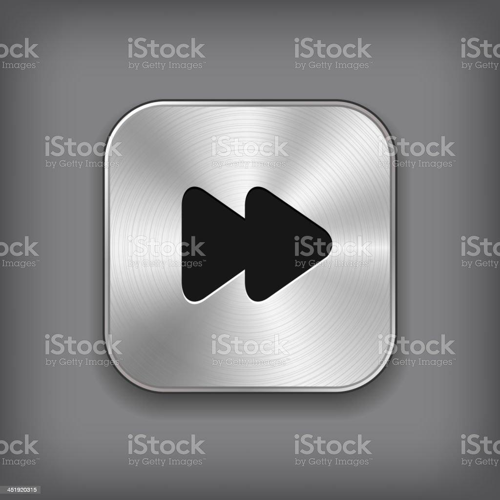 Media player icon - vector metal app button vector art illustration