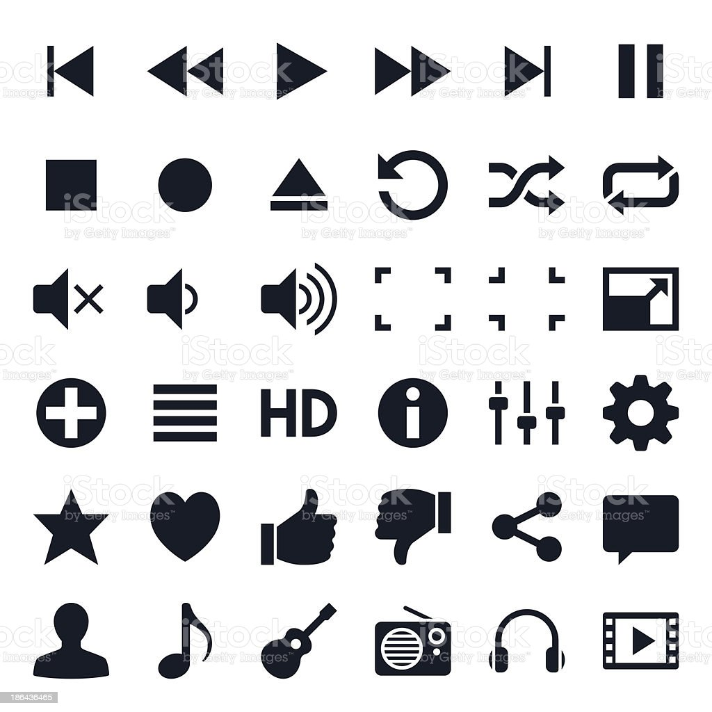 Media player icons vector art illustration