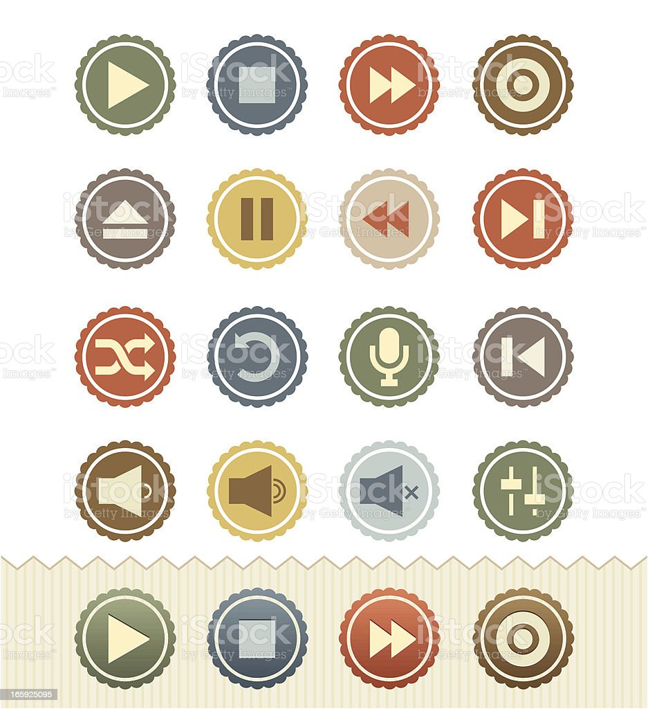 Media Player Icons : Vintage Badge Series royalty-free stock vector art