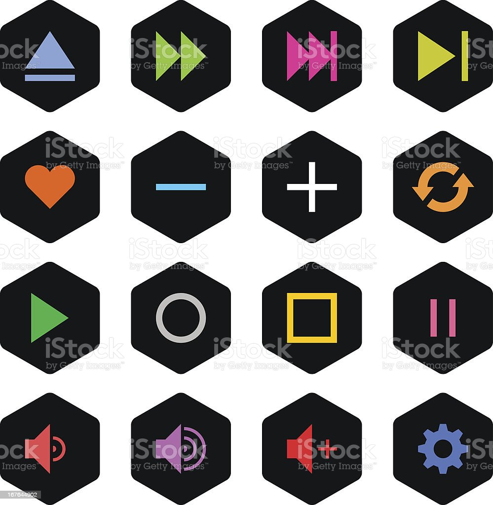 Media player sign black hexagon button icon simple style royalty-free stock vector art