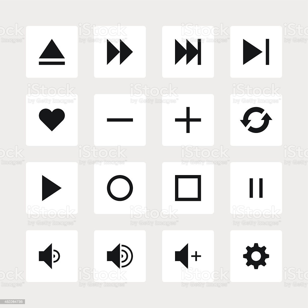 Media player sign black pictogram white icon square button royalty-free stock vector art