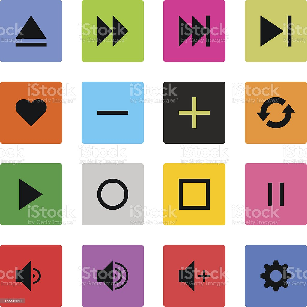 Media player sign color square button icon flat plain simple royalty-free stock vector art