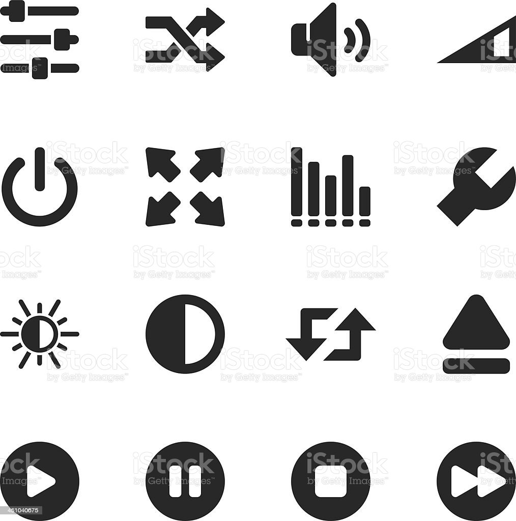 Media Player Silhouette Icons vector art illustration