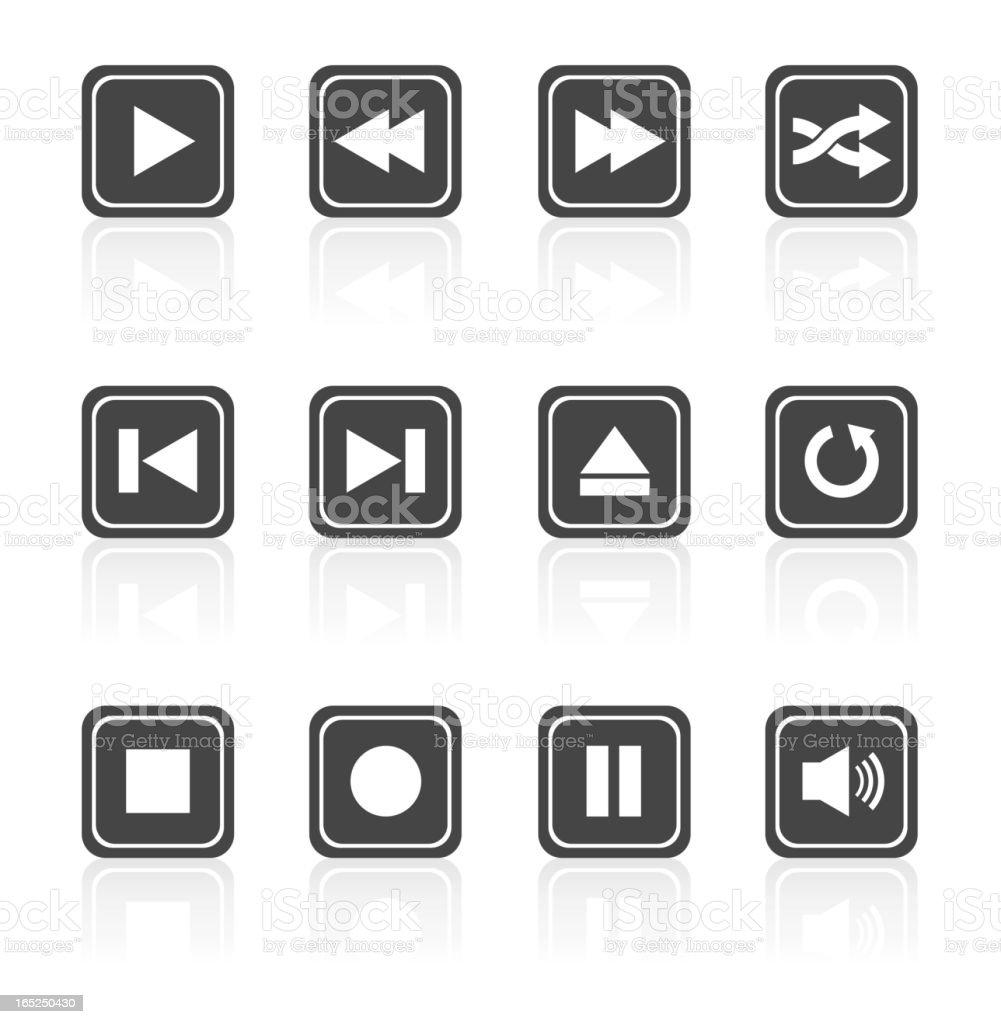 Media player square buttons set royalty-free stock vector art