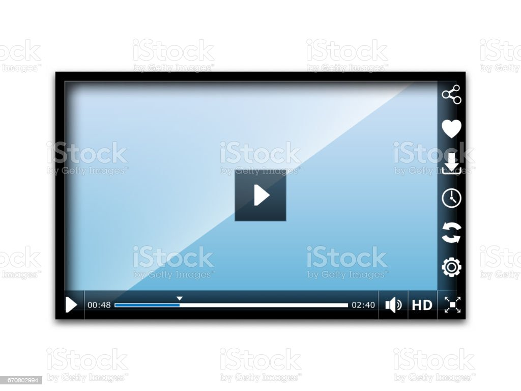 Media player user interface vector art illustration